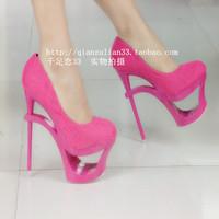 высокая туфли на высоком каблуке обувь принцесса весна ультра высокая высокие каблуки один обувь женское вырез женщины в платформа тонкий каблук обувь